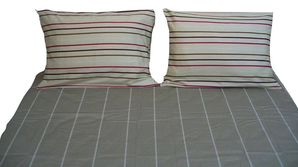 Bedding Multi White Grey Striped Fitted & Flat Sheets