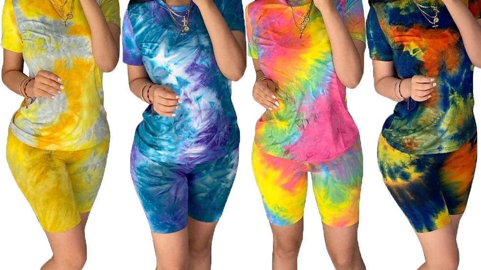 Tie Dye Two Piece Set Women Sweat Suits Casual T Shirt + Biker Shorts Set