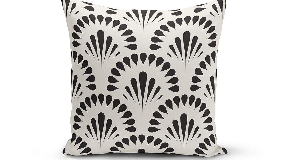 Black Cream Floral Pillow Cover