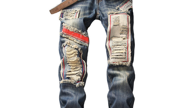 Ripped Jeans Pants Fleece Lined Destroyed Denim