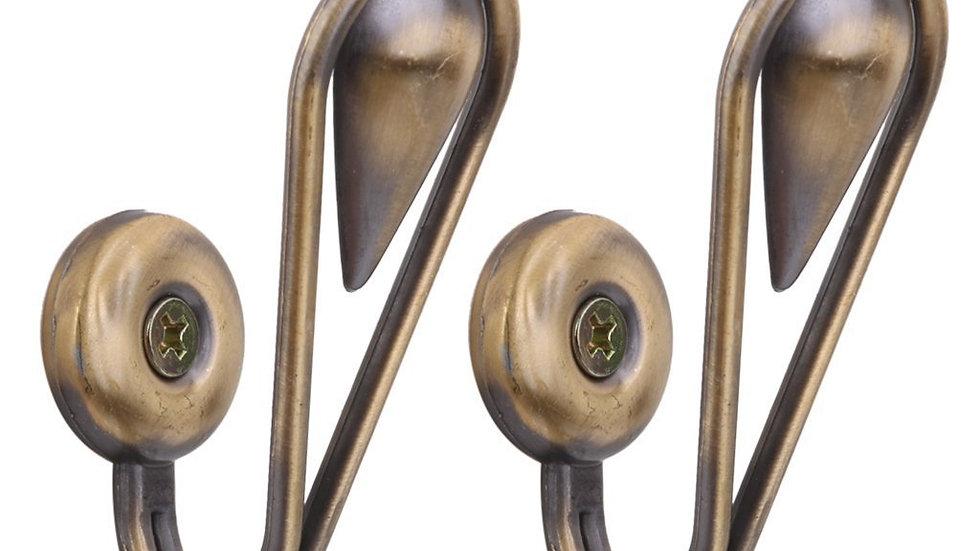 1 Pair of Tear Shape Vintage Alloy Curtain Holdbacks Tieback Hooks(Bronze)