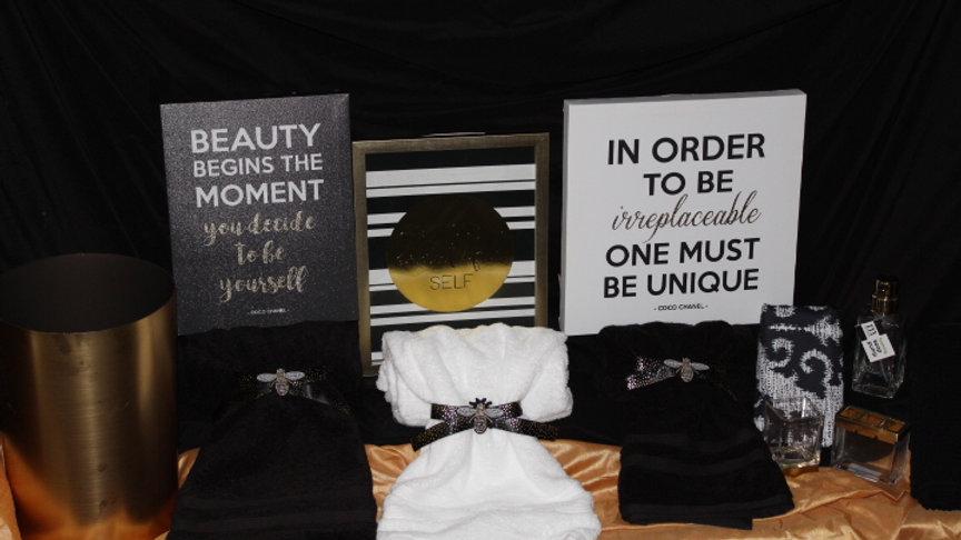 All-in-One Black & Gold  Bathroom Set