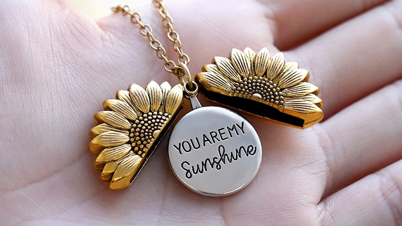 You Are My Sunshine Sunflower Necklaces