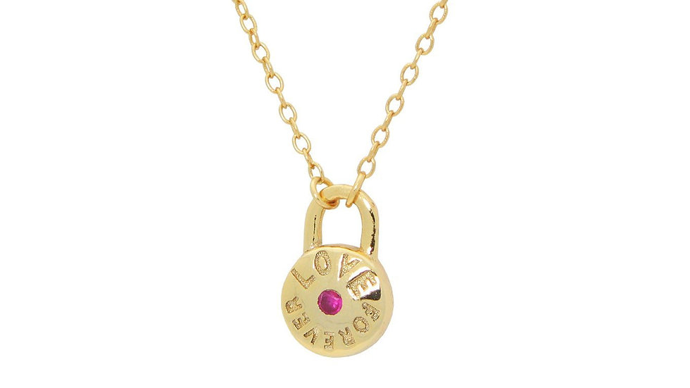 "Red Cz Love Forever Lock Pendant Necklace in Gold Plated SIlver 16""+ 2"""
