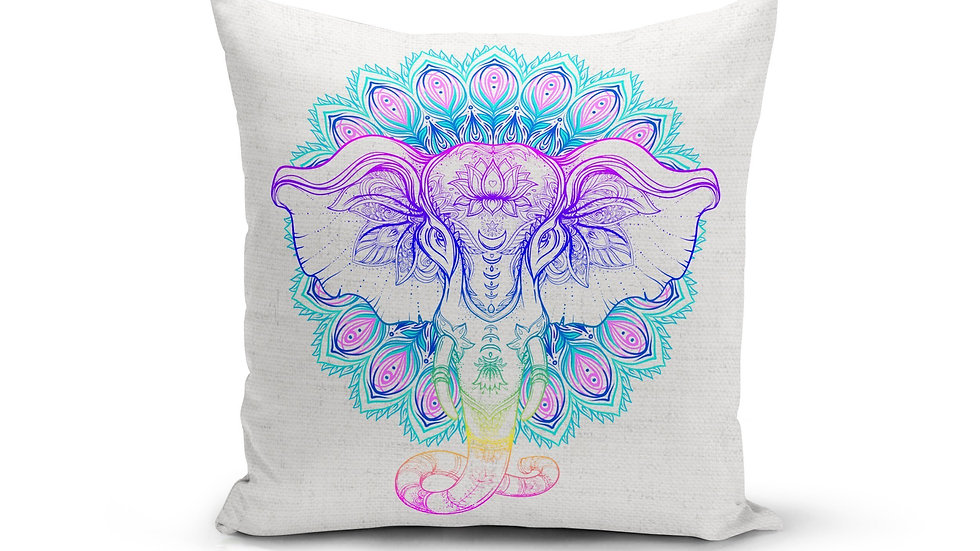 Rainbow Elephant Mandala Pillow Cover