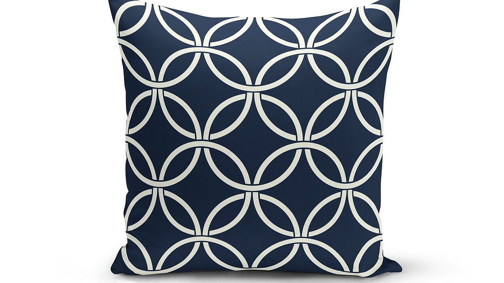 Navy Circle Interlock Pillow Cover