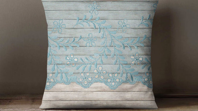 Wood Blue Mint Lace Pillowcase Decorative Throw
