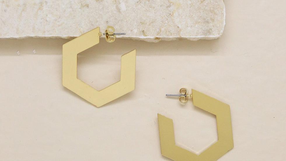 Flat Pentagon Hoop Gold Earrings