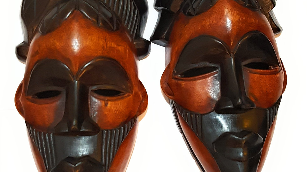 """2 Pieces of 12"""" African Wood Mask: Black and Brown"""