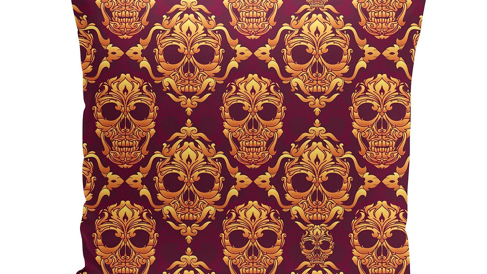Magenta Orange Skulls Pillow Cover