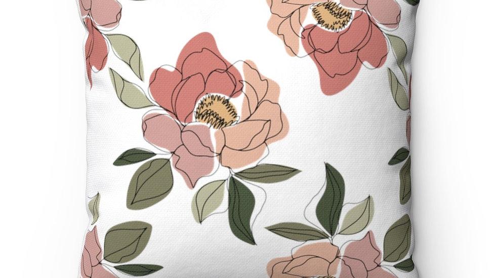 Floral Print Square Pillow