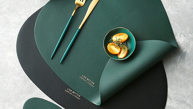 Tableware Pad Place-mat Table Mat  PU Leather Heat Insulation Non-Slip