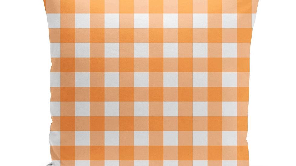 Orange Gingham Pillow Cover