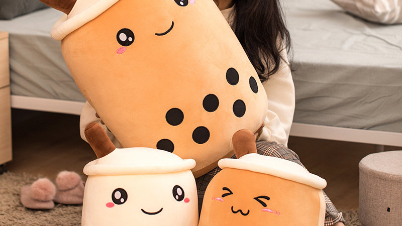 Real-Life Bubble Tea Cup Plush Toy Pillow Stuffed