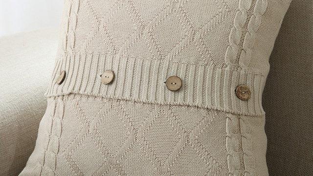 Knitting Button Fashion Throw Pillow Cases Cafe