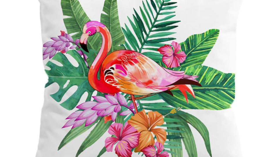 Flamingo Cushion Cover Floral Pillow Case Tropical