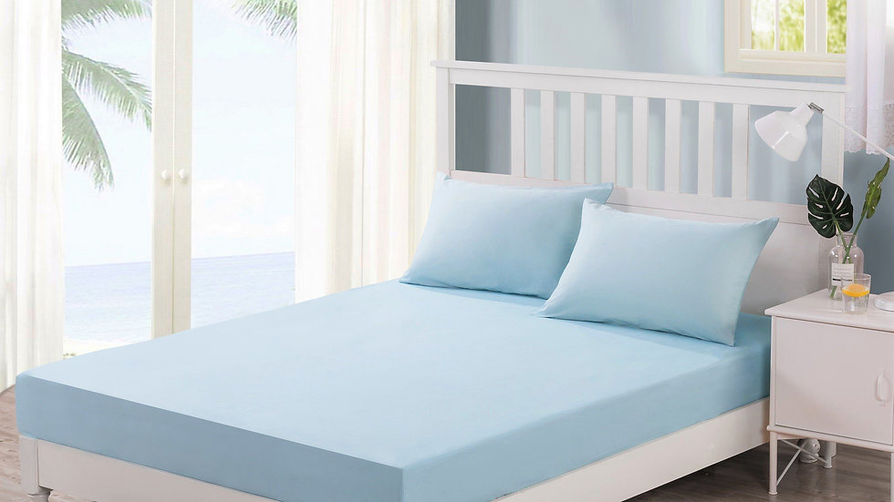 Sea-Foam Baby Blue 100% Cotton Fitted Bed Sheet & W/Pillow Cases Set (JHW604)