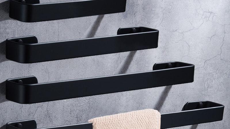 Towel Bar Black Space Aluminum Wall Mounted Single