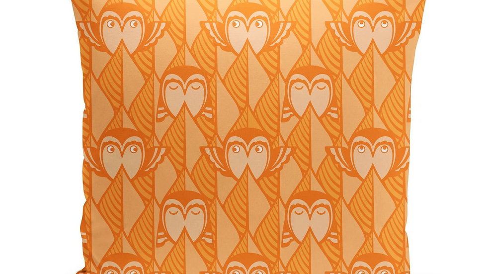 Orange Owls Pillow Cover