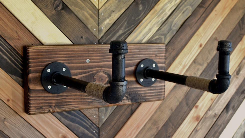 Burlap Iron Pipe Bicycle Wall Display