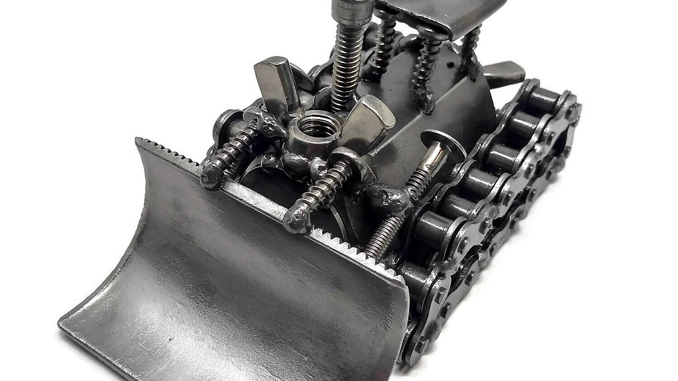 Scrap Metal Bulldozer Figurine, Steel Dozer, Nuts and Bolts Dozer Sculpture
