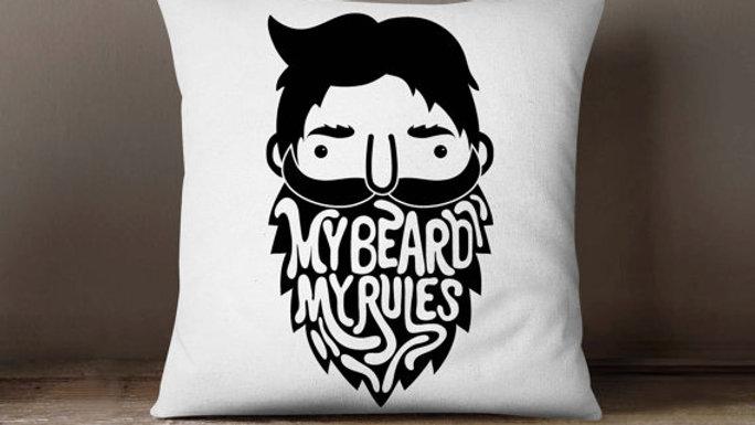 My Beard My Rules Hipster Pillowcase | Decorative