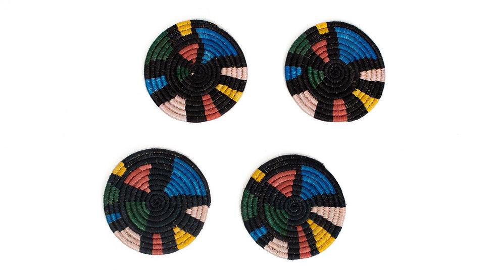 Black + Neon Mosaic Coasters, Set of 4
