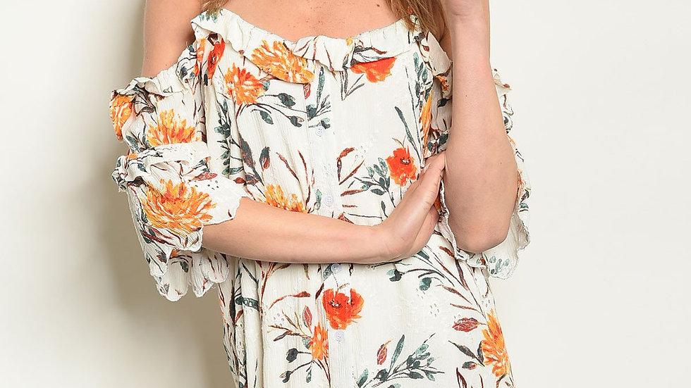 Ivory W/ Flowers Print Dress