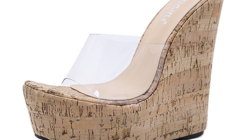 NIUFUNI Peep Toe Transparent Women Sandals Gladiator Platform Wedge High Heels