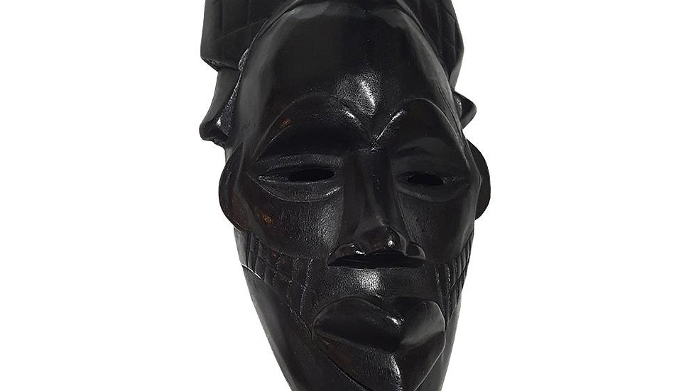 "1 Piece of 12"" African Wood Mask in Black"