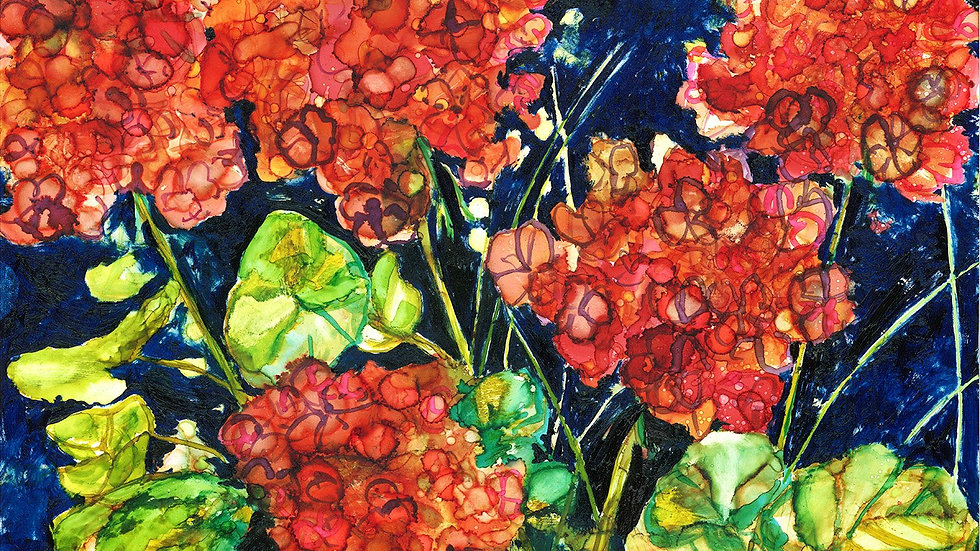 Red Geraniums : Greeting Card
