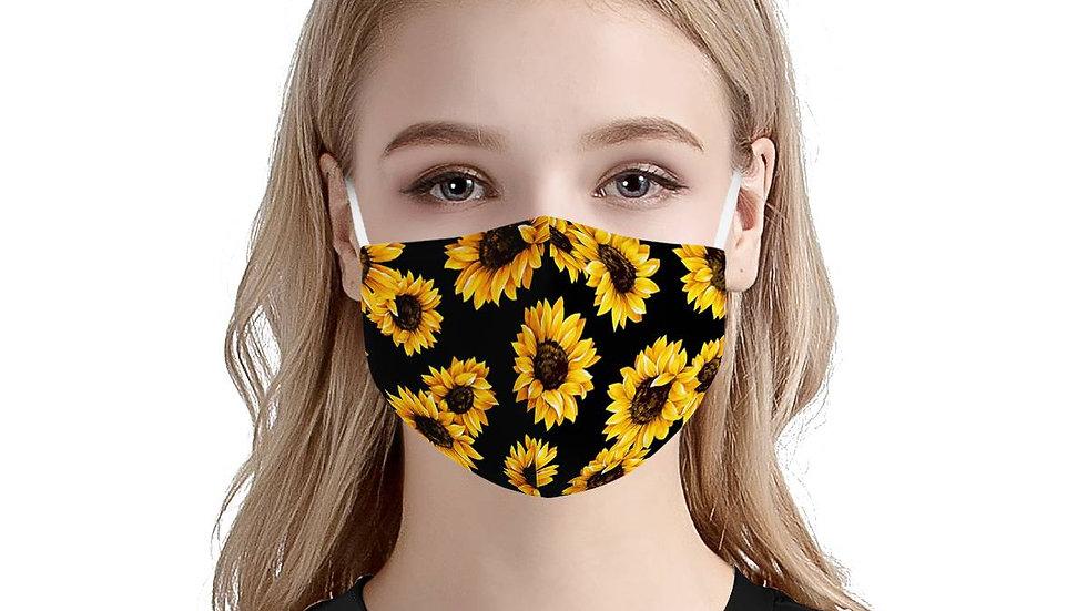 Sunflower Pattern   100% Soft Pima Cotton Triple Layer Face Mask