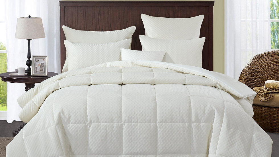 Bedding Soft Velvet Eggshell White Warm Plush 3D Pattern Comforter Set (JHW861)