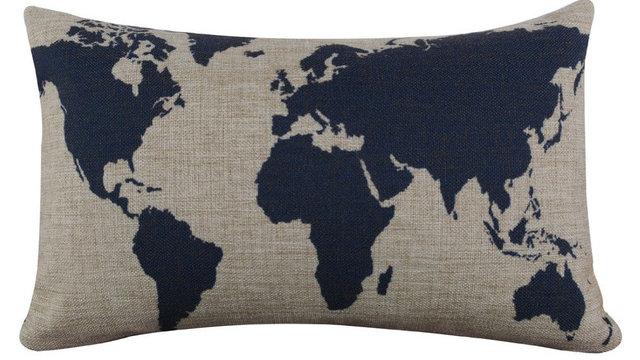 Burlap Pillowcase Linen Dark Blue Pillow cover