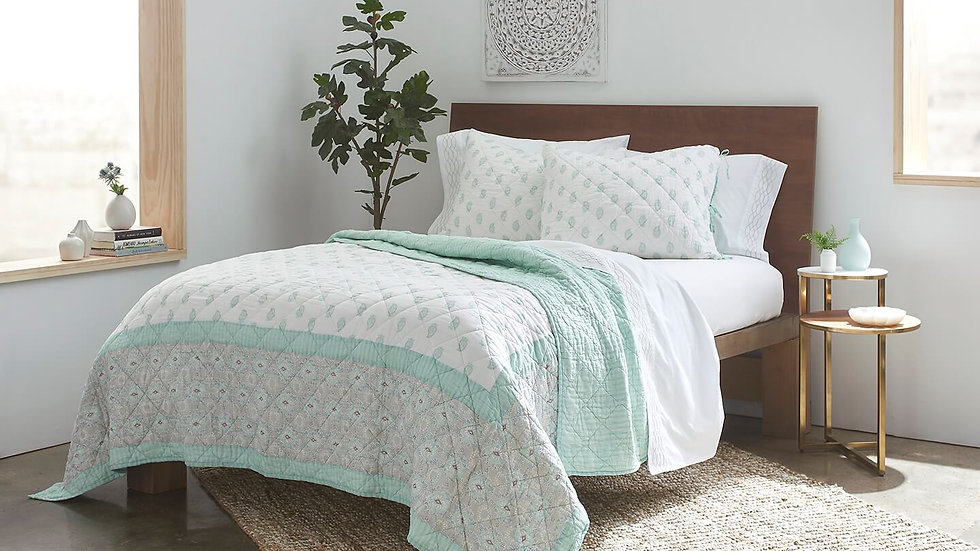 100% Long Staple Cotton Voile Block Printed Quilt