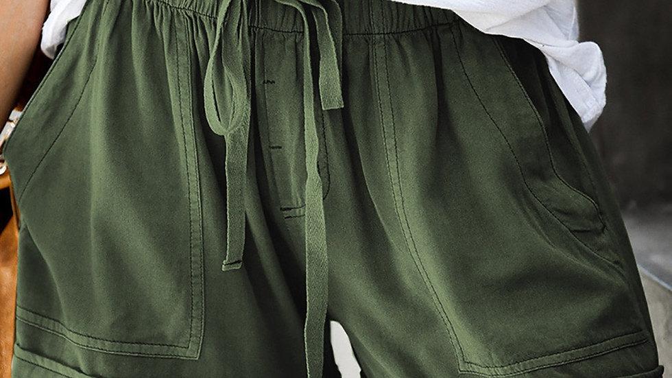 Drawstring Pockets Shorts