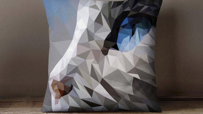 Geometric Cat Polygon Pillowcase | Decorative