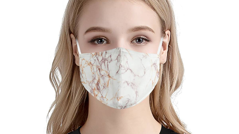 Rose Gold Marble Pattern   100% Soft Pima Cotton Triple Layer Face Mask