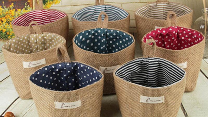 Small Storage Sack Stripe Dot Hanging Bag Sundries Storage Basket
