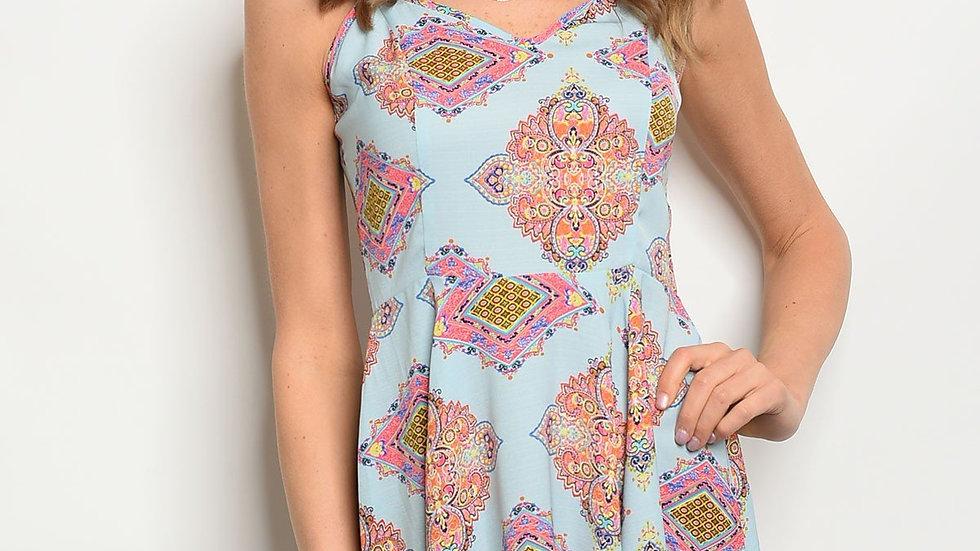 Womens Baby Blue Fuchsia Print Dress
