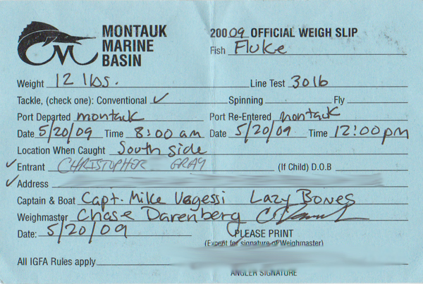 12lb fluke Official Weigh Slip