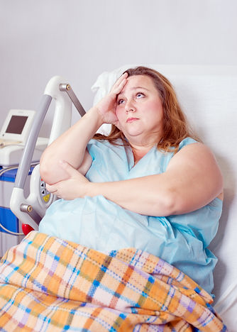 sad woman in the hospital, obesity treat