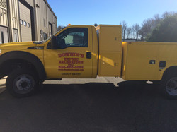 Downies Septic Excavation truck lettering