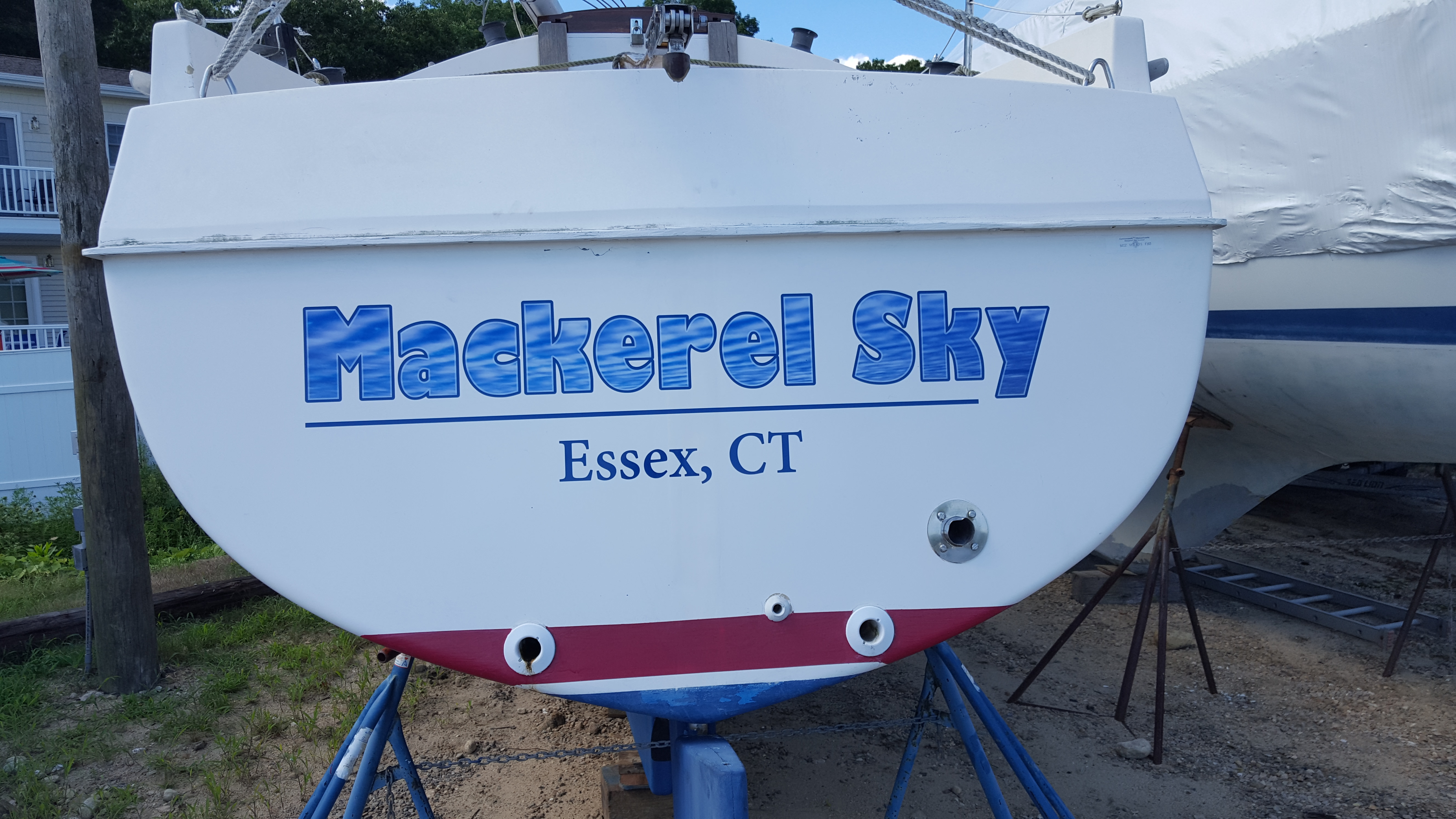 Mackerel Sky boat lettering