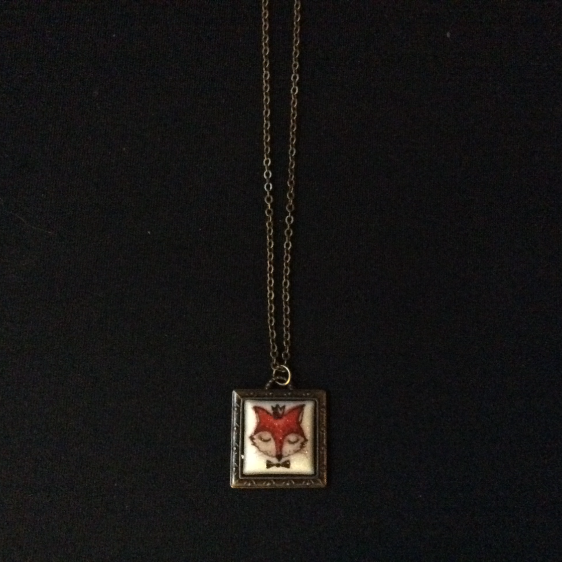 Square Framed Fox Charm Necklace