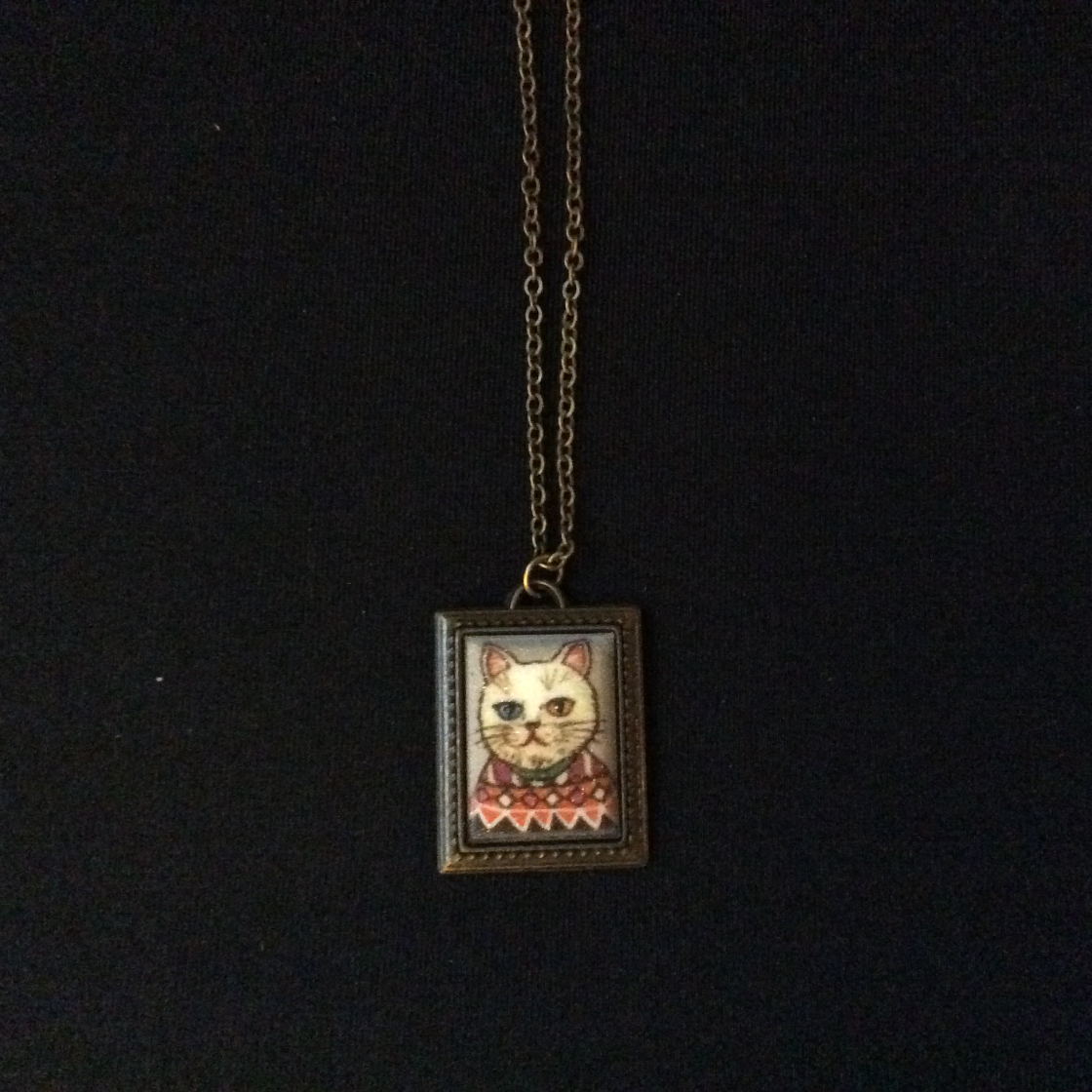Gold Square Framed Kitty Necklace