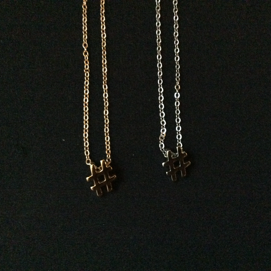 Gold and Silver Hashtag Necklaces