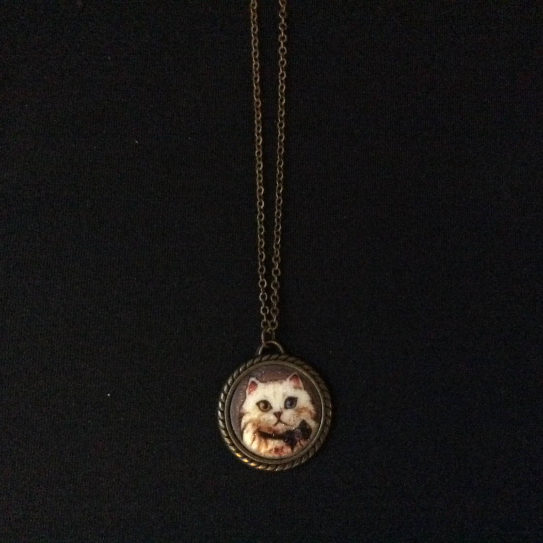 Circle Framed Kitty Charm Necklace
