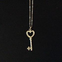 Heart Key Charm Necklace