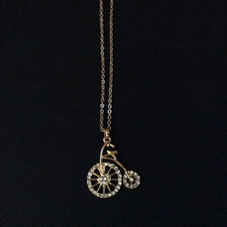 Gold Bike Charm Necklace